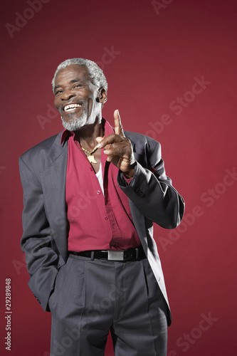 Cheerful Man Gesturing