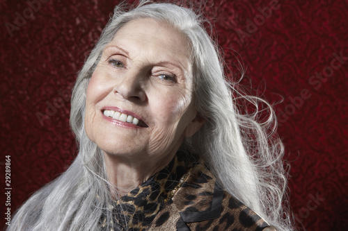 Senior Woman with Long Hair, smiling