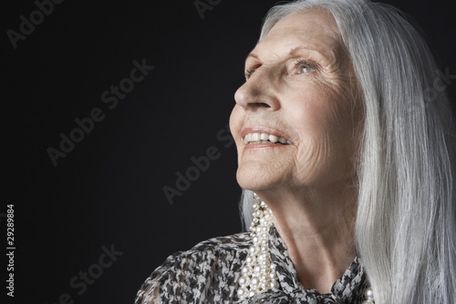 Senior Woman with Long Hair, looking up