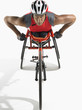 Paraplegic cycler, elevated view