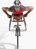 Paraplegic cycler, elevated view