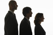 Businesspeople standing in row, in height order, profile