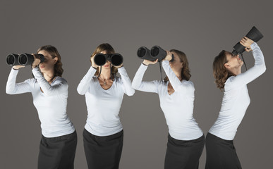 Young woman looking through binoculars, standing in various positions, digital composite