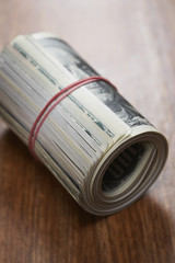 Roll of dollar bills, close-up
