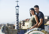 Young couple enjoying view in Barcelona, portrait