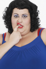 Overweight Woman Curling Lip and biting finger, portrait