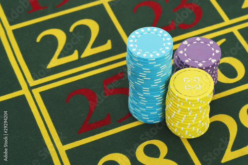 Gambling Chips on Roulette Table, close up