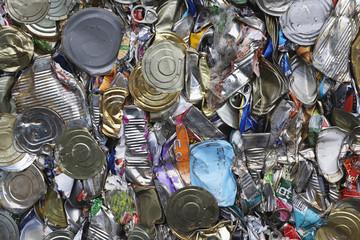 Pile of tin cans, full frame