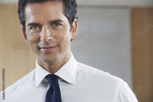 Businessman smiling, portrait