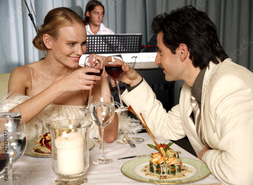 Couple having a romantic dinner in a restaurant