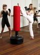 Advanced kicking exercises on the punching bag