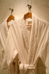 Two hanging bathrobes