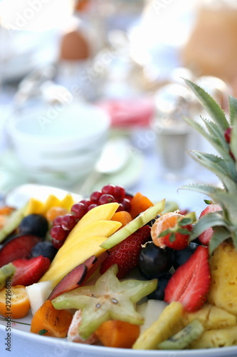 Plate of assorted fruit