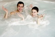 One man with one woman  in jacuzzi at a spa