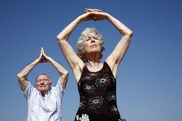 Senior couple stretching
