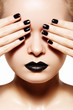 High fashion style, manicure. Black lips & nails