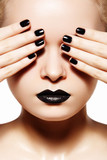 High fashion style, manicure Black lips & nails