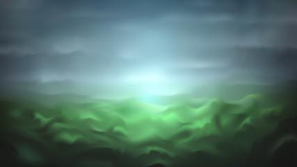 Beautiful foggy mountainous landscape