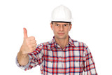 Workman showing thumbs up poster