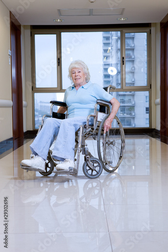 Elderly woman in a wheelchair