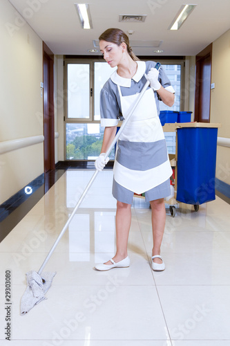 Girl cleaning floor