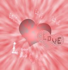 Corazones de los enamorados, con palabras,