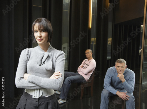 Three businesspeople in an office