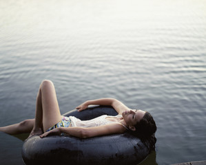 A woman relaxing in the water