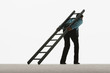 Man with ladder leaning against his back