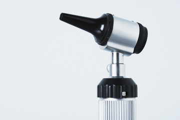 A studio shot of an otoscope