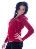 Hip African American woman in red pullover. poster