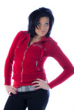 Hip African American woman in red pullover poster
