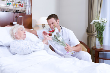 Offering flowers to a patient