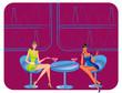 bar restaurant lounge coffee women Illustration vector