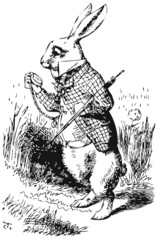 White Rabbit with watch Alice Wonderland