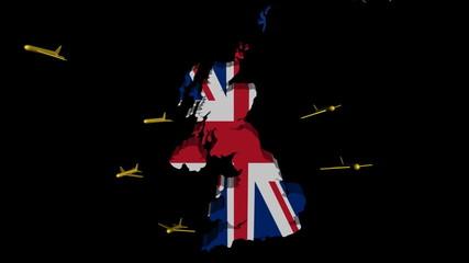 planes departing UK map flag animation
