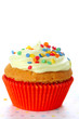 Cupcake decorated with sugar sprinkles  on white isolated backgr