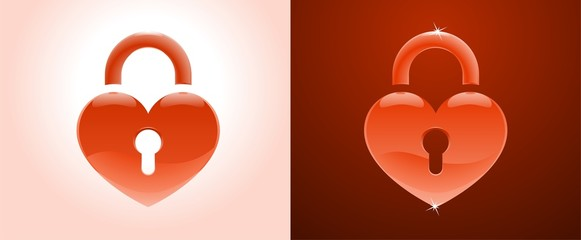 Heart Shape as a Lock (on white and on dark red backgrounds)