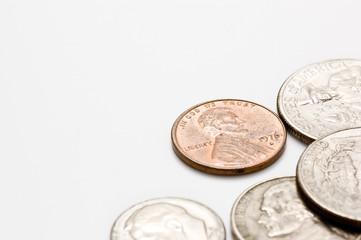 白背景にアメリカのお金のアップ