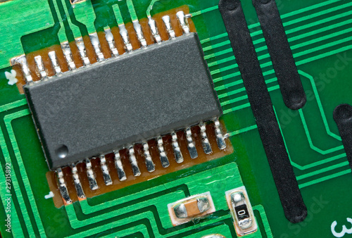 Microchip on circuit board.