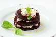 appetizer salad of beets and goat cheese with basil