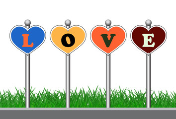 Colorful sign with love text