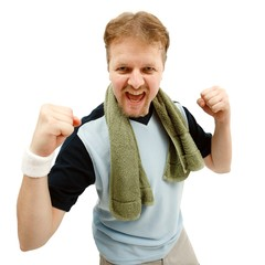 Happy, winner sportsman
