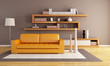 orange and brown living room