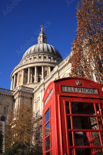 St Paul's Cathedral with a red London telephone box