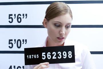 Young woman mugshot