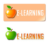 E-learning. Vector icon poster