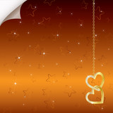 Bright romantic background with two golden hearts.