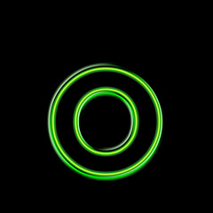 o - alphabet néon vert