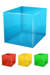 Set of colorful transparent cubes - vector file